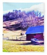 Old Barn In November Filtered Fleece Blanket
