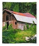 Old Barn Near Chimney Rock Fleece Blanket