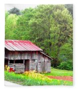 Old Barn Near Willamson Creek Fleece Blanket