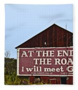 Old Barn With Religious Sign Fleece Blanket