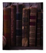 Old Baseball And Books Fleece Blanket