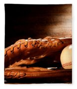 Old Baseball Glove Fleece Blanket