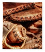 Old Baseball Gloves Fleece Blanket