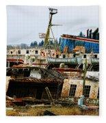 Old B.c. Rusted Ferry Fleece Blanket