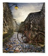 Old Bicycles On A Sunday Morning Fleece Blanket
