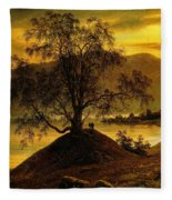 Old Birch Tree At The Sognefjord Fleece Blanket