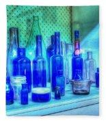 Old Blue Bottles Fleece Blanket
