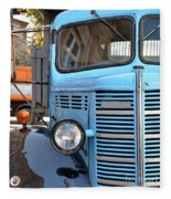 Old Blue Jalopy Truck Fleece Blanket
