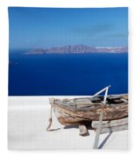 Old Boat On The Roof Of The Building On Santorini Greece Fleece Blanket