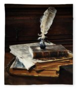 Old Books And A Quill Fleece Blanket