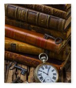 Old Books And Pocketwatch Fleece Blanket