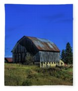 Old Broken Down Barn In Ohio Fleece Blanket