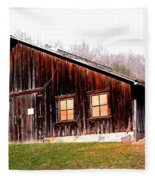 Old Brown Barn Along Golden Road Fleece Blanket