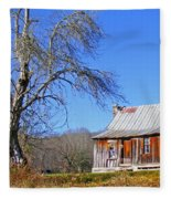 Old Cabin And Tree Fleece Blanket