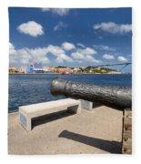 Old Cannon And Queen Juliana Bridge Curacao Fleece Blanket