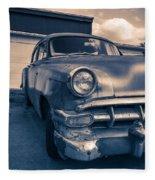 Old Car In Front Of Garage Fleece Blanket