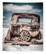 Old Car In The Snow Fleece Blanket