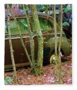 Old Car In The Woods Fleece Blanket