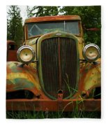 Old Cars Left To Decorate The Weeds Fleece Blanket