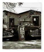 Old Cars On Route 66 Fleece Blanket