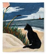 Old Cat And The Sea Fleece Blanket