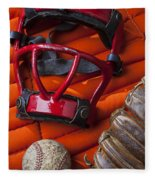 Old Catcher Mask Fleece Blanket