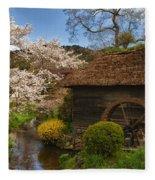 Old Cherry Blossom Water Mill Fleece Blanket