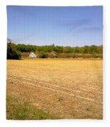 Old Chicken House On A Farm Field Fleece Blanket