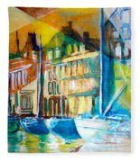 Old Copenhagen Thru Stained Glass Fleece Blanket