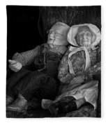 Old Couple Mannequins In Shop Window Display Fleece Blanket
