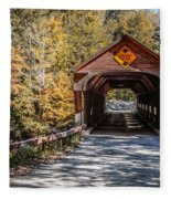 Old Covered Bridge Vermont Fleece Blanket