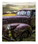 Old Dairy Farm Truck Fleece Blanket