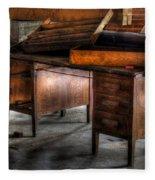 Old Desk In The Attic Fleece Blanket