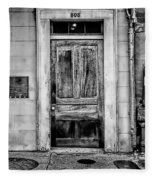 Old Door - Bw Fleece Blanket