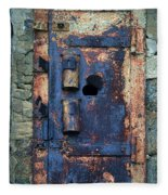Old Door At Abandoned Prison Fleece Blanket