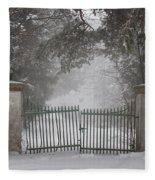 Old Driveway Gate In Winter Fleece Blanket