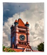 Old Dupage County Courthouse Clouds Fleece Blanket