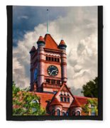 Old Dupage County Courthouse Clouds Poster Fleece Blanket