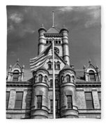 Old Dupage County Courthouse Flag Black And White Fleece Blanket