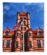 Old Dupage County Courthouse Flag Fleece Blanket