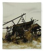 Old Farm Equipment Northwest North Dakota Fleece Blanket