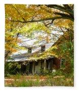 Old Farm House Behind Color Fleece Blanket
