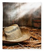 Old Farmer Hat And Rope Fleece Blanket