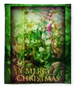 Old Fashioned Merry Christmas - Roses And Babys Breath - Holiday And Christmas Card Fleece Blanket