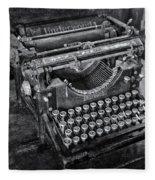 Old Fashioned Underwood Typewriter Bw Fleece Blanket