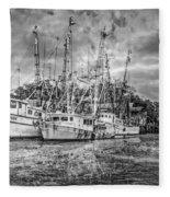 Old Fishing Boats Fleece Blanket