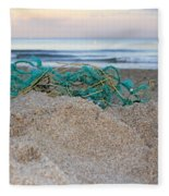 Old Fishing Net On Beach Fleece Blanket