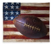 Old Football On American Flag Fleece Blanket