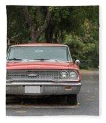 Old Ford Galaxy In The Rain Fleece Blanket