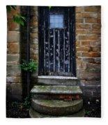 Old Forgotten Black Front Door Fleece Blanket